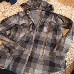 Women's columbia plaid hoodie button up